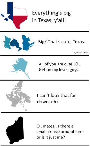 I bet no one can reach MY size!: Everything's big  in Texas, y'all!  Тех  Big? That's cute, Texas.  u/TheJaiGitster  All of you are cute LOL  Get on my level, guys.  I can't look that far  down, eh?  Oi, mates, is there a  small breeze around here  or is it just me? I bet no one can reach MY size!