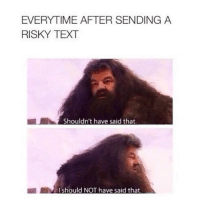 Text, Hagrid, and Everytime: EVERYTIME AFTER SENDING A  RISKY TEXT  Shouldn't have said that  I should NOT have said that hagrid