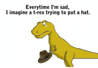 Everytime I'm sad,  I imagine a t-rex trying to put a hat.