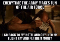 Reddit Army: EVERYTIME THE ARMY MAKES FUN  OF THE AIR FORCE  I GO BACK TO MV HOTEL AND CRVINTO MV  FLIGHT PAY AND PER DIEM MONEY