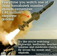 Memes, Medicare, and 🤖: Everytime you watch one of  those tomahawk missiles  launch, remember,  1.45 million  taxpayer  dollars!  It's like you're watching  highways, textbooks, teacher  salaries and medicare checks  fly across the ocean and  explode  thefattestman22 on Reddi http://t.co/EAVwAbe7tS