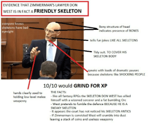 Bad, Bones, and Facts: EVIDENCE THAT ZIMMERMAN'S LAWYER DON  WEST IS IN FACT A FRIENDLY SKELETON  everyone knows  skeletons have bad  eyesight  Bony structure of head  indicates presence of BONES  tells fun jokes LIKE ALL SKELETONS  Tidy suit. TO COVER HIS  SKELETON BODY  peaks with loads of dramatic pauses  because skeletons like SHOCKING PEOPLE  10/10 would GRIND FOR XP  hands clearly used to THE FACTS:  holding low level melee like all fantasy RPGs the SKELETON DON WEST has allied  weaponry  himself with a wizened sorcerer and a fat bumbling Oro  - West pretends to fumble the defence BECAUSE HE IS A  SNEAKY SKELETON  - It appears the court has not noticed his SKELETON ANTICS  If Zimmerman is convicted West will crumble into dust  leaving a stack of coins and useless weaponry