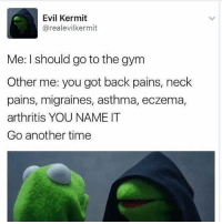 DON'T LISTEN TO THIS GUY: Evil Kermit  areal evilkermit  Me: I should go to the gym  Other me: you got back pains, neck  pains, migraines, asthma, eczema,  arthritis YOU NAME IT  Go another time DON'T LISTEN TO THIS GUY