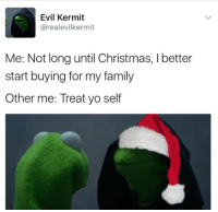 😂😂: Evil Kermit  arealevilkermit  Me: Not long until Christmas, l better  start buying for my family  Other me: Treat yo self 😂😂