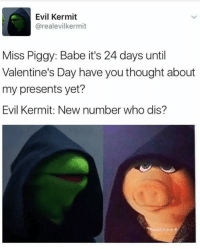 Evil Kermit : Evil Kermit  carealevilkermit  Miss Piggy: Babe it's 24 days until  Valentine's Day have you thought about  my presents yet?  Evil Kermit: New number who dis?