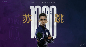 A milestone that deserves a fancy banner. Congrats again to @SumaaaaiL who is the first person to 1000 kills at The International! https://t.co/2OHbmdW5ja: EVILGENIUSES  TI9  E G 蓄势 待发  蓄 势待发  SUMAT  PAZER  AMD A milestone that deserves a fancy banner. Congrats again to @SumaaaaiL who is the first person to 1000 kills at The International! https://t.co/2OHbmdW5ja