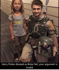 You're a wizard ha.. err Boba Fett? starwarsfacts: Eving  Harry Potter dressed as Boba Fett, your argument is  invalid You're a wizard ha.. err Boba Fett? starwarsfacts