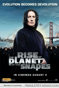 """Memes, Evolution, and Http: EVOLUTION BECOMES DEVOLUTION  THE  OF  DLANET  or SNAP  OF THEE  IN CINEMAS AUGUST 4  #apesvillrise e  Banned in 0 countries  MUGGLENET MEMES.COM <p>I&rsquo;d watch it. <a href=""""http://ift.tt/1omuh6n"""">http://ift.tt/1omuh6n</a></p>"""
