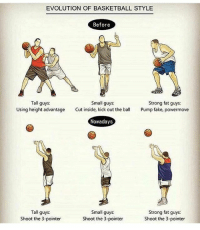 Tag a shooter 👌 Follow me @ballbelikes if you're ready for playoffs 💯: EVOLUTION OF BASKETBALL STYLE  Before  Tall guys.  Small guys:  Strong fat guys  Using height advantage  Cut inside, kick out the bal  Pump fake, powermove  Nowadays  Tall guys.  Small guys:  Strong fat guys:  Shoot the 3-pointer  Shoot the 3-pointer  Shoot the 3-pointer Tag a shooter 👌 Follow me @ballbelikes if you're ready for playoffs 💯