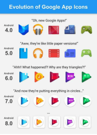 "Android, Aww, and Google: Evolution of Google App Icons  ""Oh, new Google Apps!""  Android  4.0  ""Aww, they're like little paper versions!""  Android  5.0  ""Ahh!! What happened?! Why are they triangles?!""  Android  6.0  And now they're putting everything in circles...  Android  7.0  Android  8.0 Google apps evolution"