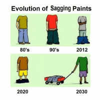 80s, Memes, and Evolution: Evolution of Sagging Paints  80's  90's  2012  2030  2020