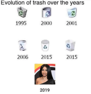 Cardi B Bad: Evolution of trash over the years  1995  2000  2001  2006  2015  2015  2019 Cardi B Bad