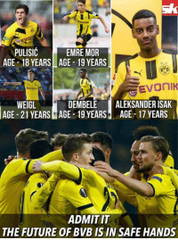 Memes, Borussia Dortmund, and 🤖: Evontr  vol  PULISIC  EMRE MOR  AGE 18 YEARS AGE 19 YEARS  BNB  Evonik  WEIGL  DEMBELE  ALEKSANDER ISAK  AGE 21 YEARS AGE 19 YEARS AGE 17 YEARS  ADMIT IT  THE FUTURE OF BVB IS IN SAFE HANDS Borussia Dortmund are secured for the next 5-6 years at least!