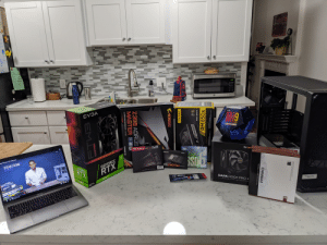 Its not much but it is mine. Ready for actually first build on my own.: EVSA  UNLOCKED  SPECIAL EDITION  Gicti  Бе qui  DARK  intel  Donl  TFORCE  SAMSUNG  50OGB  1-NAND SSD  erge fantastic PC build guide  270 EVO Plus NVME M2  Cepper PCB  GEFORCE  STEFAN ETIENNE  GEFORCE  E PONER FRO TEAM BROUP  RTX  RTX  STEFANETIENNE  DARK ROCK PRO 4  fractal  NO COMPROMISE SILENCE AND PERPORMANCE  2080 Ti  2080 T  MacBook Pro  H O 0:02 /11:10  NOCTUA PREMIUM FAN 14014025mm  SWAPPARLE ANTI-VIBRATION PADS IN 6 COLOURS  CHROMAX  NOCTUA NF-A14 PWM chromax.black.swap  CORE  EM as surestio  PPLY ALIMENTATION ATX HAUTE PERFORMANCE HOCHLEISTUNGS ATX-NETZGERAT  RM850X MASR  NIVSO  850 WATT  RM 850x  08  RMx SERIES  MA  KAORUS  Z398 AORUS  MASTER E  GIGABYTE  GAMING MOTHERBOARD LGA 1151  GEFORCE RTX  EM. Its not much but it is mine. Ready for actually first build on my own.