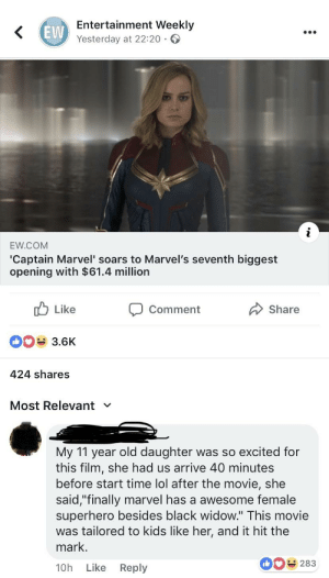 """Uhhh.... yeah, I'm sure that was her reaction: EVW  Entertainment Weekly  Yesterday at 22:20  EW.COM  'Captain Marvel' soars to Marvel's seventh biggest  opening with $61.4 million  Like  3.6K  424 shares  Comment  Share  Most Relevant  My 11 year old daughter was so excited for  this film, she had us arrive 40 minutes  before start time lol after the movie, she  said,""""finally marvel has a awesome female  superhero besides black widow."""" This movie  was tailored to kids like her, and it hit the  mark.  10h Like Reply  0283 Uhhh.... yeah, I'm sure that was her reaction"""