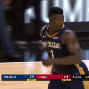 Zion Williamson's Preseason Debut!  28 MINS 16 PTS 6-13 FG 0-2 3PT 4-7 FT 7 REB 3 AST 3 STL 4 TO 1 Nasty Dunk  https://t.co/VsTEeKkRfE: EW GRLEANS  75  61  PELICANS  HAWKS  2nd Qtr  :02  BONUS  BONUS Zion Williamson's Preseason Debut!  28 MINS 16 PTS 6-13 FG 0-2 3PT 4-7 FT 7 REB 3 AST 3 STL 4 TO 1 Nasty Dunk  https://t.co/VsTEeKkRfE