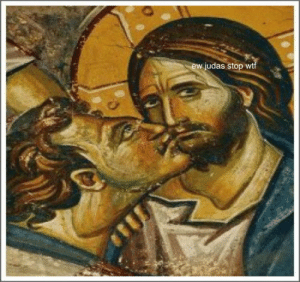 Funny, Lmao, and Memes: ew judas stop wtf And your breath stinks too #medieval #memes #funny #lmao #trippingthroughtime