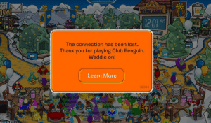 """phoneyphoenix: """"I felt a great disturbance in the Force, as if millions of voices suddenly cried out in terror and were suddenly silenced.""""  : EWS  CLUB PENGUIN  TIMEZONE  Am  1201  DAY  The connection has been lost.  Thank you for playing Club Penguin.  Waddle on!  ate  Learn More  rincees Pf1  10004  107839188  ralsba8  21189  oll  da  6  pudiove  P3  3  107  52748991  me  pynin  o.o  ee1  aat phoneyphoenix: """"I felt a great disturbance in the Force, as if millions of voices suddenly cried out in terror and were suddenly silenced."""""""