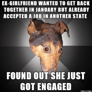 Probably Die in UserSub: EX-GIRLFRIEND WANTED TO GET BACK  TOGETHER IN JANUARY BUT ALREADY  ACCEPTED A JOB IN ANOTHER STATE  FOUND OUT SHE JUST  GOT ENGAGED  made on imgur Probably Die in UserSub