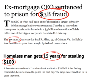 Alternate justice systems: Ex-mortgage CEO sentenced  to prison for$3B fraud  he CEO of what had been one of the nation's largest privately  I held mortgage lenders was sentenced Tuesday to more than  three years in prison for his role in a $3 billion scheme that officials  called one of the biggest corporate frauds in U.S. history.  The 40-monthsentence for Paul R. Allen, 55, of Oakton, Va., is slightly  less than the six-year term sought by federal prosecutors.  Homeless man gets(15 years for stealing  $100  A homeless man robbed a Louisiana bank and took a $100 bill. After feeling  remorseful, he surrendered to police the next day. The judge sentenced him to 15  years in prison. Alternate justice systems