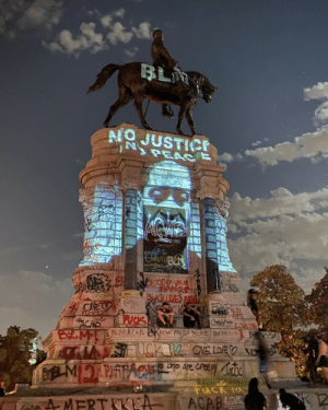 ex0skeletal-undead: grupaok: Antonin Mercié/Adalbert Volk, Robert E. Lee Monument, Richmond, Virginia, 1890. Projection by Dustin Klein; photo by Alexis Delilah; spray paint improvement by the public, 2020. :)  via NPR : ex0skeletal-undead: grupaok: Antonin Mercié/Adalbert Volk, Robert E. Lee Monument, Richmond, Virginia, 1890. Projection by Dustin Klein; photo by Alexis Delilah; spray paint improvement by the public, 2020. :)  via NPR