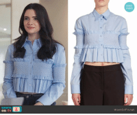"""Fucking, God, and Saw: exact  match  worn  ornOnTV.net <p><a href=""""http://ladiesloveduranduran.tumblr.com/post/162917991829/wornontv-janes-blue-ruffled-cropped-shirt-on"""" class=""""tumblr_blog"""">ladiesloveduranduran</a>:</p><blockquote> <p><a href=""""http://wornontv.tumblr.com/post/162890996036/janes-blue-ruffled-cropped-shirt-on-the-bold"""" class=""""tumblr_blog"""">wornontv</a>:</p> <blockquote> <p>Jane's blue ruffled cropped shirt on <b>The Bold Type:</b></p> <p><a href=""""http://wornon.tv/45926"""">Smocked Cropped Top by<b><i> Cédric Charlier</i></b> at Saks Fifth Avenue</a>, $238.80 (was $995)</p> <p><a href=""""https://wornontv.net/74099"""">See this outfit at WornOnTV.net</a></p> </blockquote> <p>I've been following this blog for years and I have never said anything but I finally need to speak up. 238 dollars. 238 dollars for what is quite possibly the UGLIEST shirt I have ever seen.  This shirt looks likes someone spilled coffee on the 3rd ugliest shirt ever created, so they replaced the middle with the second ugliest shirt ever created to make the ugliest shirt in the entire fucking world.  If I saw someone wearing this in public I could murder them without getting arrested because it would be fucking self defense<br/><br/>I'm so fucking upset.  How dare they.  How dare they sell this shirt for 238 dollars and how dare they call that a SALE.  This affront to God was originally $995.  A thousand dollars to look like a 19th century Lily Pulitzer model.   </p> </blockquote>"""