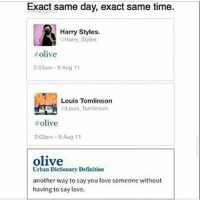 This actually happened💙💚: Exact same day, exact same time.  Harry Styles.  Harry Stylos  olive  2:03pm 9 Aug 11  Louis Tomlinson  OLouis Tomlinson  olive  2:03pm 9 Aug 11  olive  Urban Dictionary Definition  another way to say you love someone without  having to say love. This actually happened💙💚