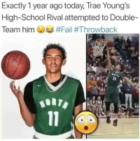 Fail, Memes, and School: Exactly 1 year ago today, Trae Young's  High-School Rival attempted to Double-  Team him Gosa Will Trey Young be a bust?👀 For more posts like this follow me @sportzmixes _ Via: @breakanklesdaily