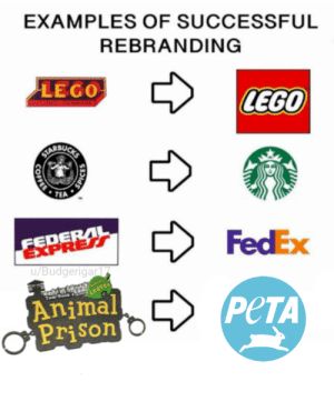 Lego, Peta, and Prison: EXAMPLES OF SUCCESSFUL  REBRANDING  LEGO  LEGO  BU  TEA  FedEx  EXPRER  u/Budgerigar  Animal  Prison  PeTA Nobody Leaves