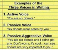 """Cool, Donuts, and Passive Aggressive: Examples of the  Three Voices in Writing  1. Active Voice  You ate six donuts.""""  2. Passive Voice  """"Six donuts were eaten by you  3. Passive-Aggressive Voice  You ate six donuts.and L didn't.get  any. Don't worry, it's cool. I can see  donuts are very important to you,"""