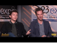 Too Much, Infinity, and Benedict Cumberbatch: exc  3e  FAN  IM CONVENIO  ANAHEIM CONV  GMA <p>Benedict Cumberbatch cuts off Tom Holland before he reveals anything about Infinity War and Holland explains that they won't even let him read the whole script because he blabs too much.</p>