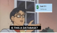 Excel, App, and Database: Excel 2016  Desktop app  IS THIS A DATABASE? The users solution for everything