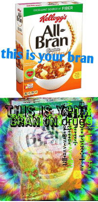 "Family, Reddit, and Affect: EXCELLENT SOURCE of FIBER  ran  this is vour bran  A whole grain &  wheat bran cereal  HE  Wile Many Fodors Affect Heart Diesse  Diets low In  20  Redece The Riék Of Heart Disxose  FIBER  GRAMS  FAMILY  REWARDS  KFR.com  O. 210 5  SAT FAT SCOUM <p>[<a href=""https://www.reddit.com/r/surrealmemes/comments/7gy0s9/consume_the_bran_before_it_consumes_you/"">Src</a>]</p>"