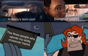 meirl: Except of course  @JaxLee00  Nobody's born cool  CN  CN  The three people who  upvote my shitty  crossover meme  40 meirl