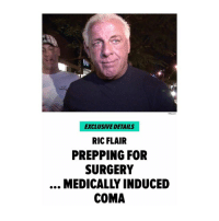 Memes, Ric Flair, and 🤖: EXCLUSIVE DETAILS  RIC FLAIR  PREPPING FOR  SURGERY  MEDICALLY INDUCED  COMA 😳🙏 https://t.co/hbOlxop9lJ