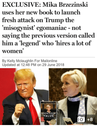 Crazy, Fresh, and Book: EXCLUSIVE: Mika Brzezinski  uses her new book to launch  fresh attack on Trump the  misogynist' egomaniac - not  saying the previous version called  him a 'legend' who 'hires a lot of  women  By Kelly Mclaughlin For Mailonline  Updated at 12:48 PM on 29 June 2018  MIKA BRZEZINSKI  NoUR  VALUE  KNOW