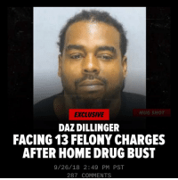 "Crips, Jail, and Kanye: EXCLUSIVE  MUG SHOT  DAZ DILLINGER  FACING 13 FELONY CHARGES  AFTER HOME DRUG BUST  9/26/18 2:49 PM PST  287 COMMENTS STORY via TMZ - Daz Dillinger got busted for allegedly having a bunch of weed in his Georgia home ... and now he's facing multiple felony charges. Tha Dogg Pound rapper was arrested Tuesday just before midnight at his place in Powder Springs - about 20 miles outside the ATL. Cops say they found a total of 117 grams of marijuana in his residence ... including in several cigarillo packets and a green mason jar. Daz allegedly also had 10 THC pods, THC oil, a THC vaporizer ... and a container in his home studio labeled ""Cannabis Lean."" Cops say the label on the bottle described it as a grape drink laced with cannabis. He was hauled off to jail in Cobb Country, where he was booked on 12 counts of possession of a controlled substance, and 1 count of possession of more than one ounce of marijuana. Daz's bond's set at $15k. We're told he's still in jail, waiting to see the judge. You may recall ... Dillinger had some different issues with police back in early May, after he put a call out to the Crips to ""f**k Kanye up"" over his favorable comments about President Trump. Daz claimed cops hassled him over the Kanye threat and we were told they were looking into it ... but it was eventually deemed no big deal. ( via @tmz_tv )"