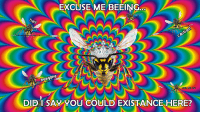 "Reddit, Com, and Can: EXCUSE ME BEEING  0004  beegone  DIDI SAY YOU COULD EXISTANCE HERE?  can iee! <p>[<a href=""https://www.reddit.com/r/surrealmemes/comments/87oghf/hey/"">Src</a>]</p>"