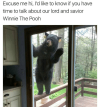 Bear in the window: Excuse me hi, l'd like to know if you have  time to talk about our lord and savior  Winnie The Pooh Bear in the window