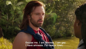 Amnesia, Gay, and New: Excuse me. I am armless. I am gay.  I have amnesia. I'm new in  town.