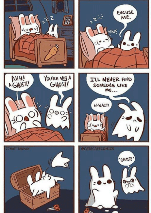 Rabbit meets ghost: EXCUSE  ME.  WHA?  AHH!  AGHOST!  YOU'RE NOT A  GHOST!  ILL NEVER FIND  SOMEONE LIKE  ME...  W-WAIT!  (:(.)  OMATT TARPLEY  ECATSCAFECOMICS  *GHAST! Rabbit meets ghost