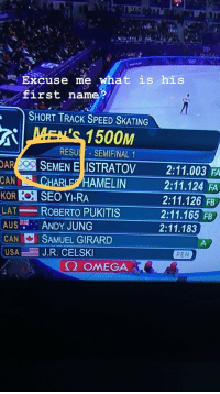 Omega, What Is, and Speed: Excuse me what is his  first name?  SHORT TRACK SPEED SKATING  RESUL SEMIFINAL 1  OARSEMEN ELISTRATOV  CAN  2:11.003 FA  2:11.124 FA  2:11.126 FB  2:11.165 FB  2:11.183  ARLE HAMELIN  KOR SEO Y-RA  LAT ROBERTO PUKITIS  AUS ? ANDY JUNG  SAMUEL GIRARD  ELSK  Ω OMEGA  USAJ.R. CEI  PEN You stop that