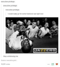 Humans of Tumblr, Unfollow, and Stopping: executive-privilege  executive-privilege  executive-privilege  l could really go for some hardcore sax right now  JAZZERS  Stop unfollowing me  Source: executive privi  56,891 notes
