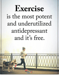 Exercise is the most potent and underutilized antidepressant and it's free. positiveenergyplus: Exercise  is the most potent  and under utilized  antidepressant  and it's free.  POSITIVE Exercise is the most potent and underutilized antidepressant and it's free. positiveenergyplus