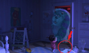 In Monsters, Inc. (2001) you can see Jesse from Toy Story lying on the ground.: EXI In Monsters, Inc. (2001) you can see Jesse from Toy Story lying on the ground.