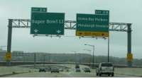 Green Bay Packers, Pittsburgh Steelers, and Super Bowl: EXIT 2 A  EXIT 2 B  Super Bowl LI  Green Bay Packers  Pittsburgh Steelers  EXIT ONLY  35