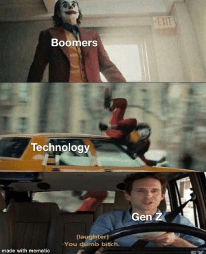 Ok boomer: EXIT  Boomers  Technology  Gen Z  [laughter]  You dumb bitch.  made with mematic Ok boomer