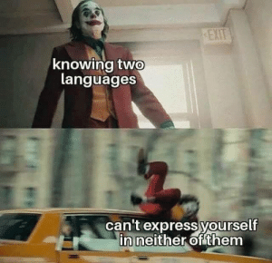 Neither: EXIT  knowing two  languages  can't express yourself  in neither of them