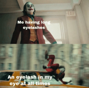 Irl, Me IRL, and Eye: EXIT  Me having long  eyelashes  An eyelash in my  eye at all times me_irl
