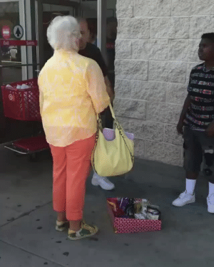 """Bitch, Candy, and Crying: Exit  Salida waltersupermercado:  c-bassmeow:  waltersupermercado:  c-bassmeow:  prettyboyshyflizzy:   ROWLAND HEIGHTS (CBSLA.com) —  An altercation between a woman,  man, and a girl selling candy outside a Rowland Heights Target has gone  viral, racking up more than five million views and nearly 70,000 shares. """"I showed it to friends and family, not intending it to go viral at all  and I guess people just started sharing it and sharing it,"""" said Andy  Lizarraga, who posted the cellphone video on her Facebook last week. She did so after walking out of the store and witnessing a woman she says was harassing a teenage girl for selling candy for $1. """"She comes up to the little kid and is like, 'Where is your license?  Have you asked permission to be here?' And then the kid is like, 'No,  I'm just selling candy. I'm trying to make some money,' """" Lizarraga  said.""""She continued to yell at her and scream at her and tell her if she  didn't have a permit, that she was going to go to jail, that Sheriff's  were on their way,"""" said Jay Lopez, who walked up behind her. Lopez said that when he walked up the girl was in tears. """"When I walked up, she was crying hysterically,"""" he said. He decided to stop the back-and-forth by offering to buy the entire lot of candy. He ultimately purchased $80 worth of candy and handed them out to fellow shoppers passing by. """"Mind your own business. Take care of yourself and your family and everything will come together for you,"""" he said. With millions of hits, Lizarraga's inbox has been flooded. She has heard from the woman's daughter, asking her to take the video down, but she hasn't heard from the little girl. It's unclear what the girl was selling the candy for. Lopez said her older brother was also selling outside the store.  She was sooo mad when he said he was gonna buy all of it lmaooo  old white people swear they saving the world …. bless that man and that child and fuck that old yeller  I need to get a license to """